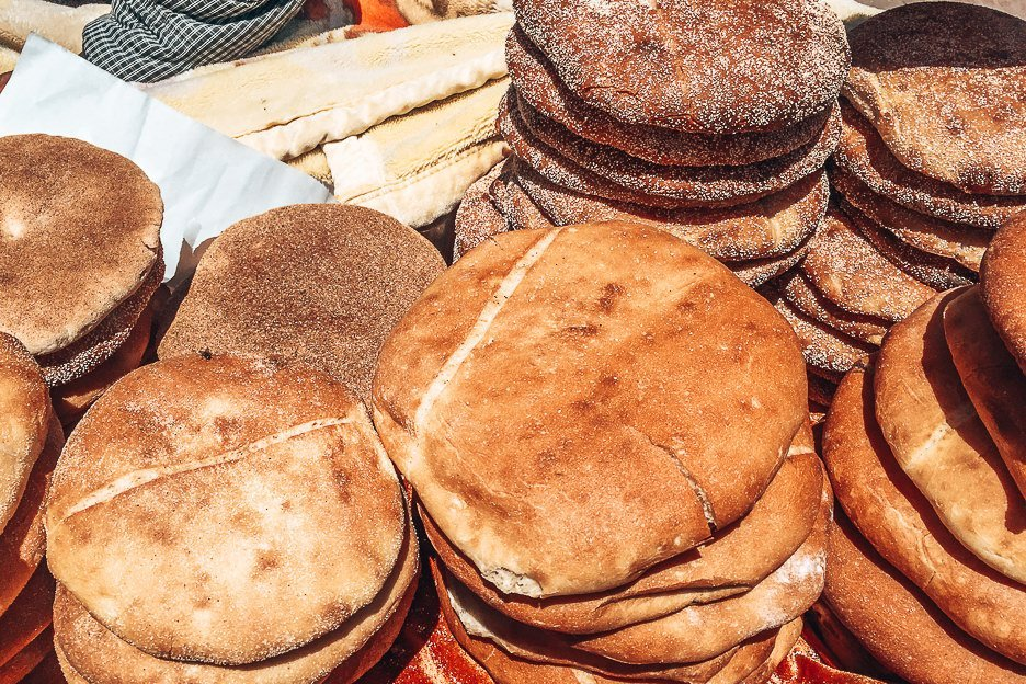 Freshly baked bread for sale Essaouira Morocco