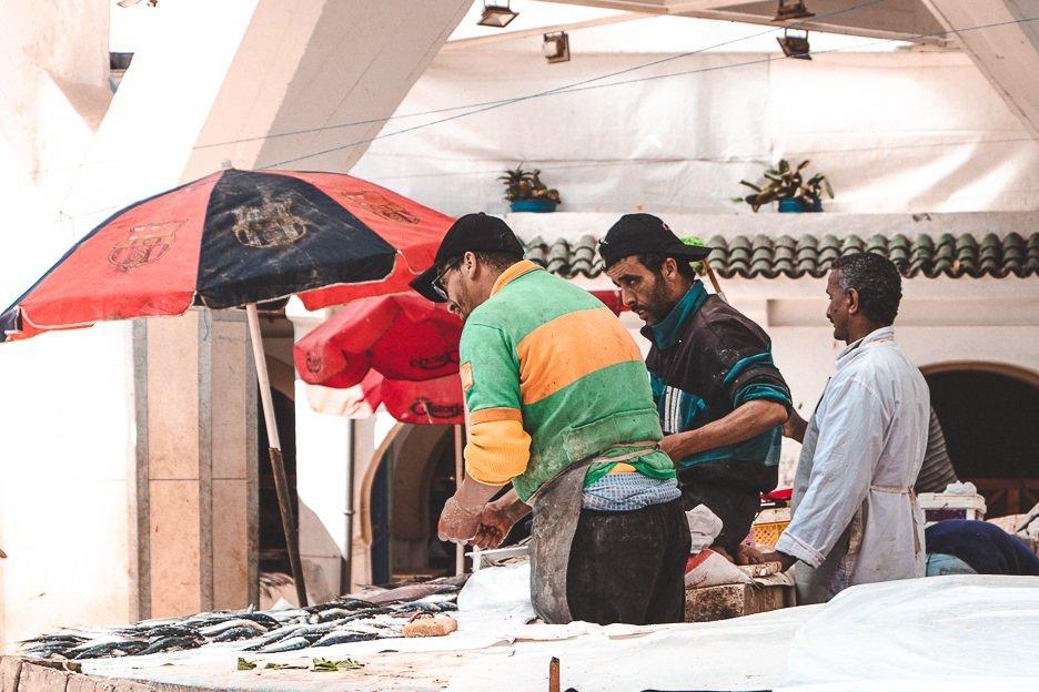 Fishmongers in Marche aux Poissons Essaouira Morocco
