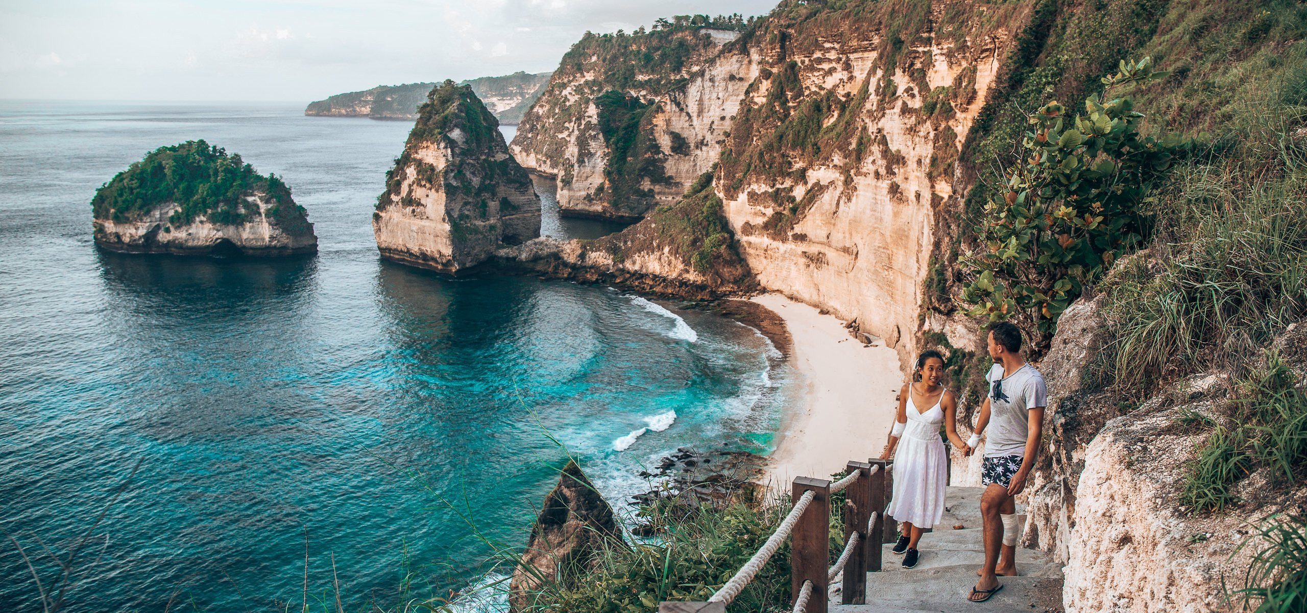 Walking up the stairs from Diamond Beach, Nusa Penida