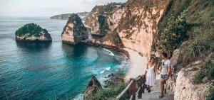 Walking up the stairs from Diamond Beach, Nusa Penida