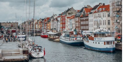 Boats in the harbour at Nyhavn on a cloudy day, Copenhagen