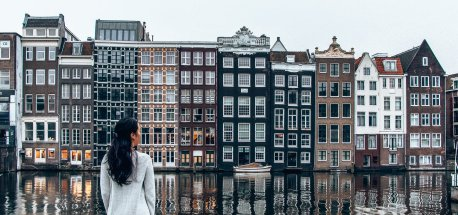 Looking out over Damrak in Amsterdam