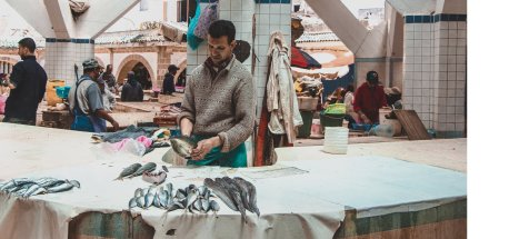 A man cleans fish at the Marche aux Poissons in Essaouira, Morocco | Beyond the Tagine: 11 Foods and Drinks of Morocco