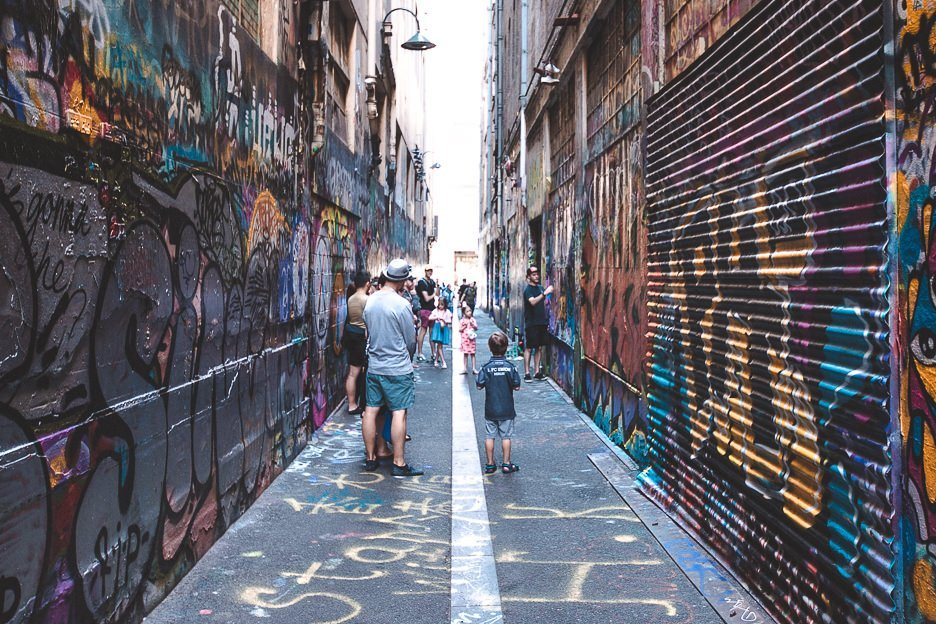 Wandering graffiti laneways in Melbourne CBD