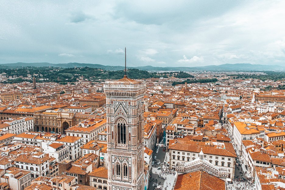 An eagle eye view over the red roofs of Florence from atop the Duomo ofCathedral of Santa Maria del FioreWebsiteDirectionsSave