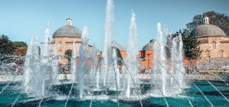 Fountains in front of the Hagia Sophia in Istanbul, Turkey