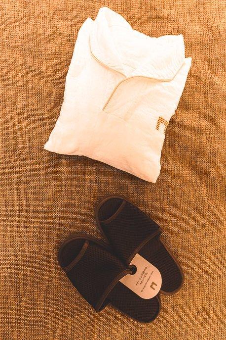 Double gauze fabric pyjama set and slippers at The Gate Hotel Kaminarimon by HULIC