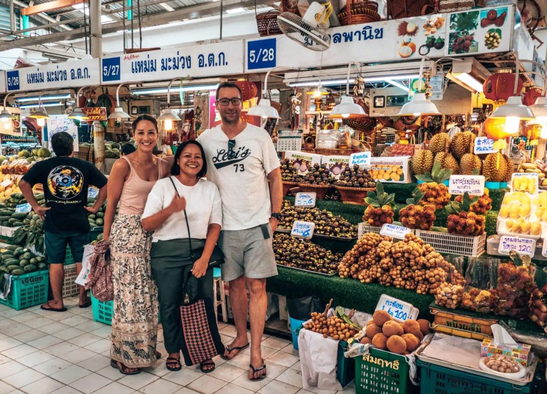 James, Lee and Priyaporn at food stall.