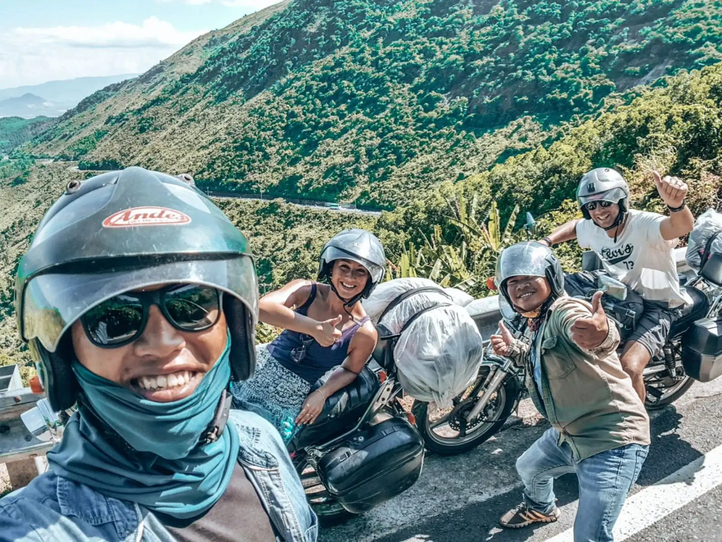 Picture of four motorbikers on Hai Van Pass Vietnam