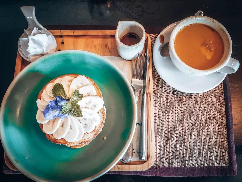 Picture of tea and banana pancakes at Good Souls, Chiang Mai, Thailand