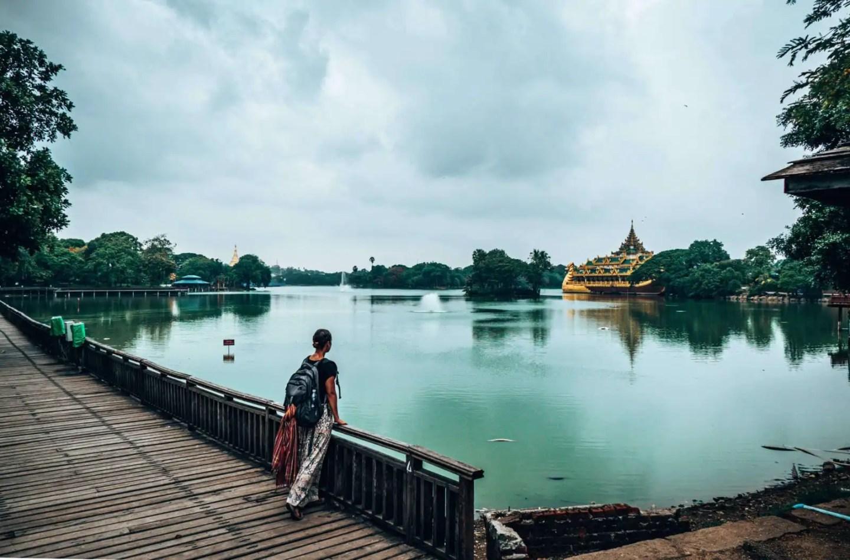 Picture of girl at Lake Kandawgyi in Yangon Myanmar