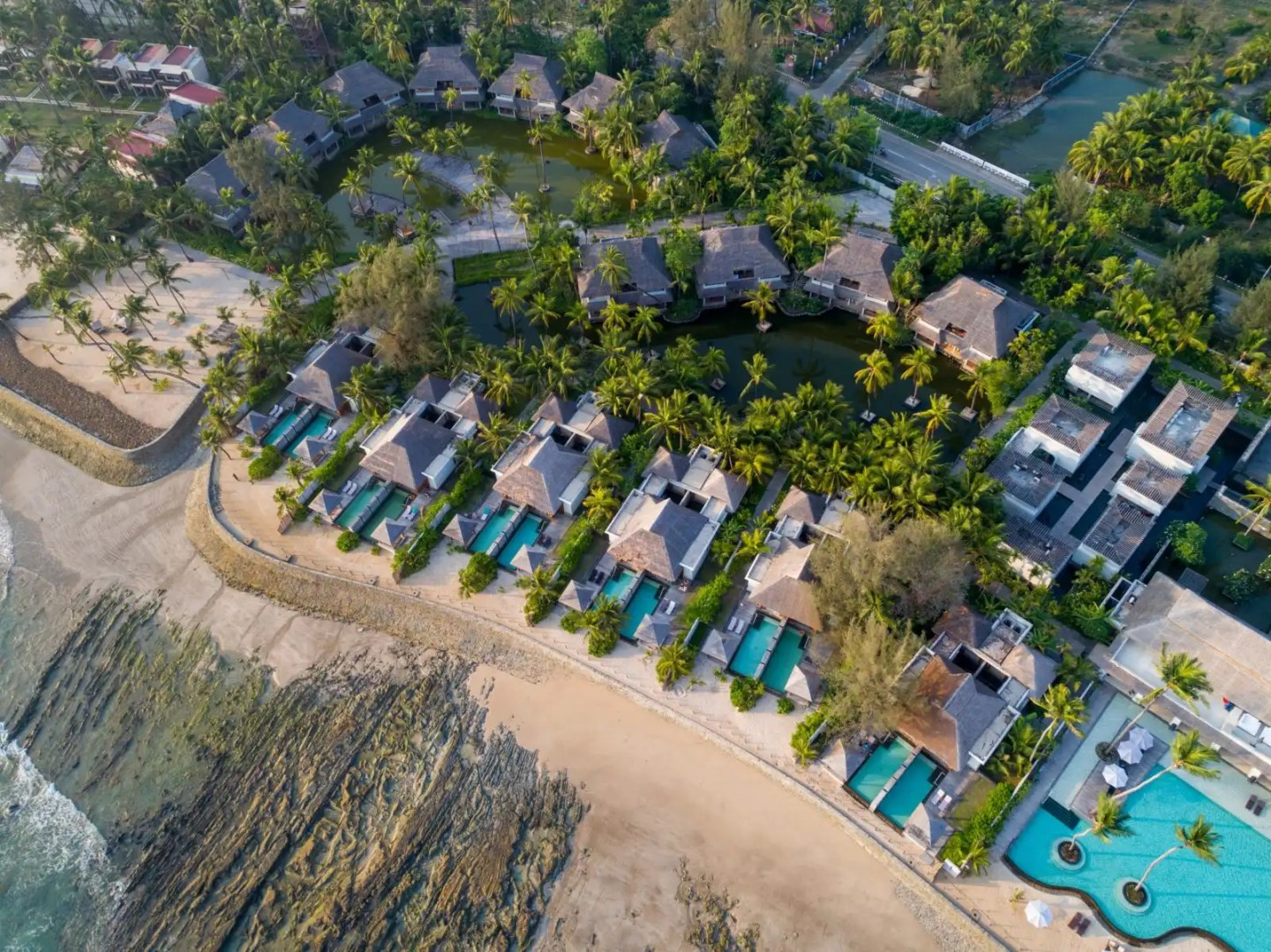 Aerial picture of Ngapali beach in Myanmar