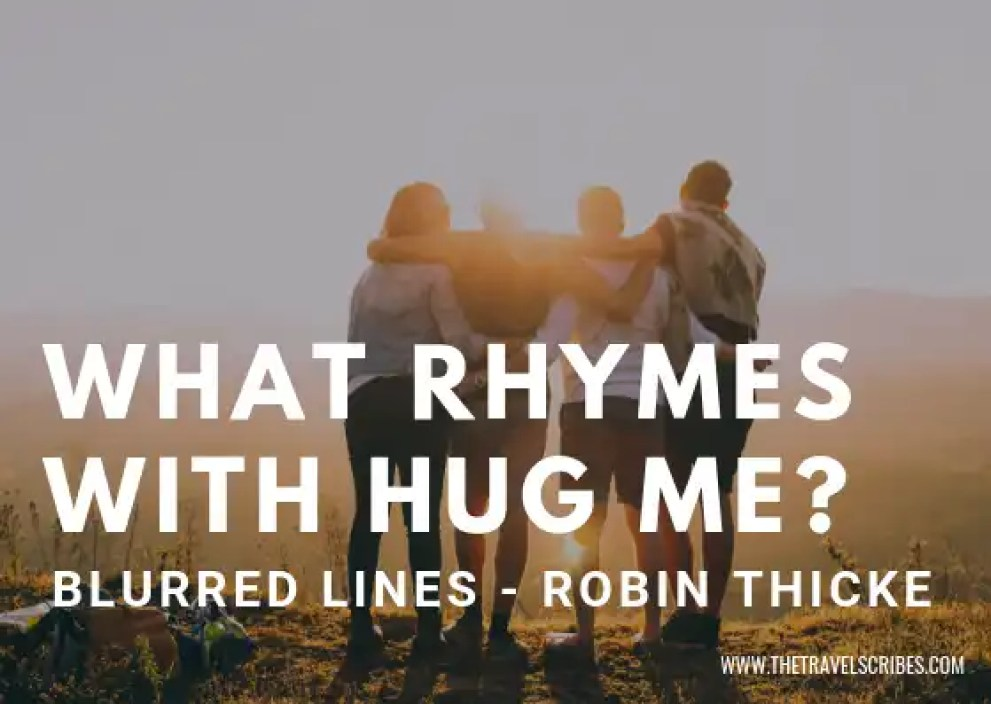 Captions for pictures of yourself - Graphic for What Rhymes with Hug