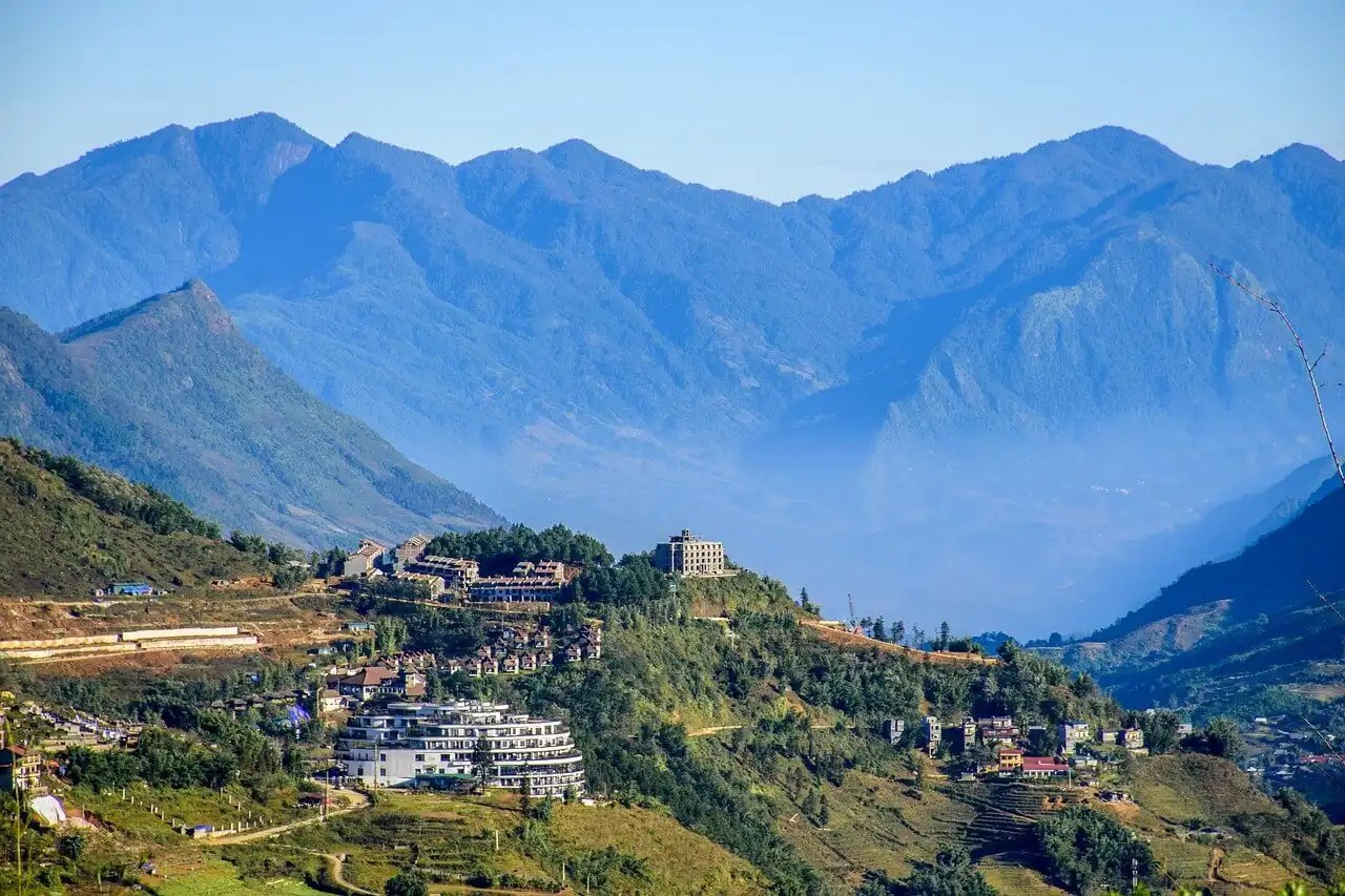 Panoramic picture of the town of Sapa Vietnam