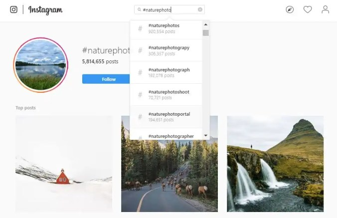 Screenshot of nature hashtags in Instagram