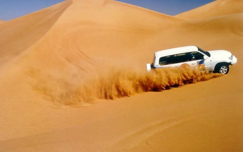 Image of a car in a desert safari in Dubai