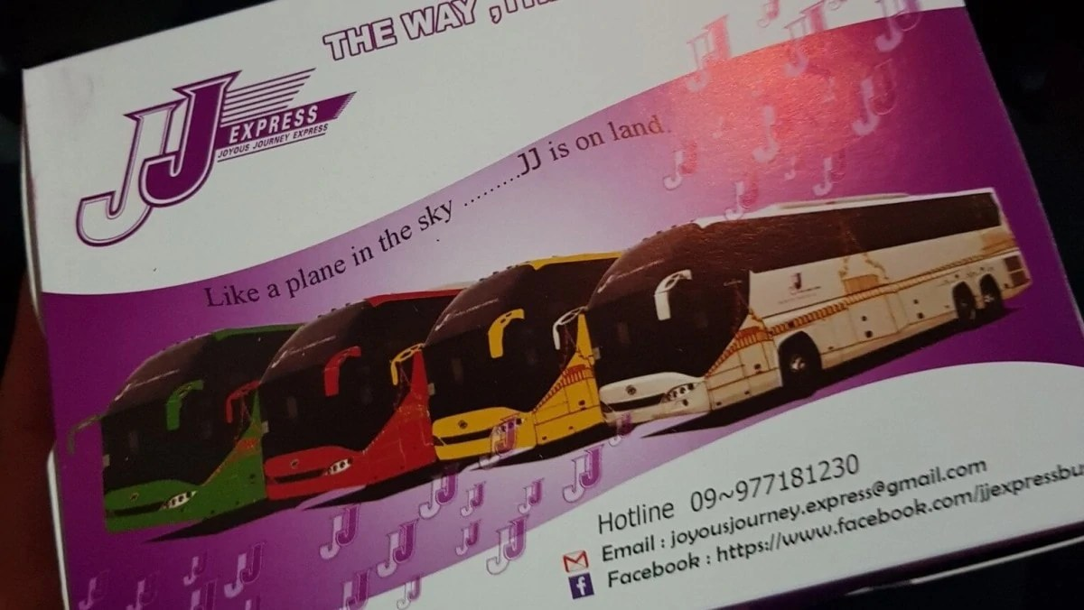 3 days in Yangon itinerary - JJ Express bus ticket