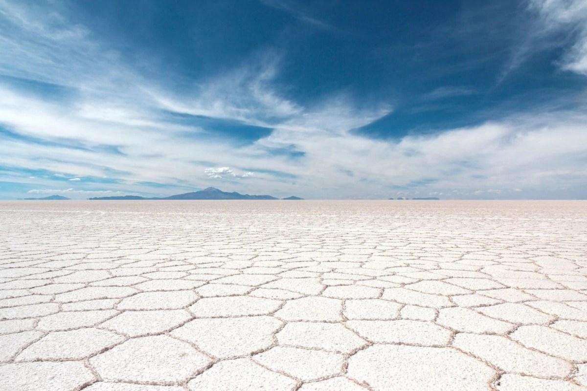 Famous Bolivian landmark - Uyuni Salt Flats
