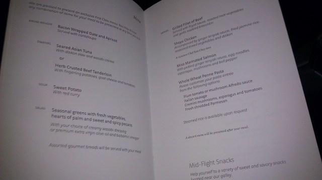 aa first class menu
