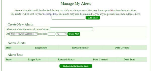 cashback monitor manage my alerts
