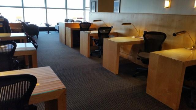 united lounge LaGuardia airport work desks