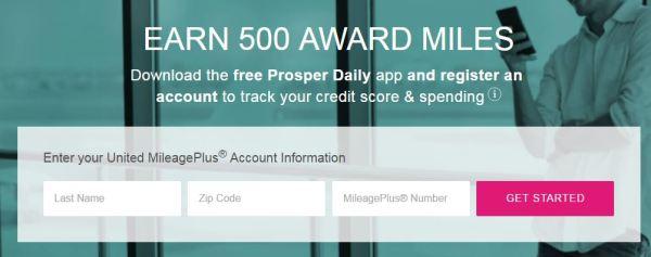 500 free united miles prosper app