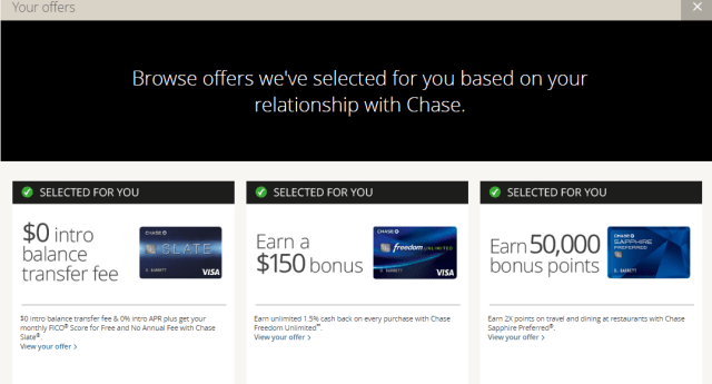 Chase online preapproved offers