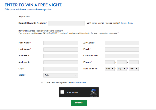 Marriott Rewards and Chase 1,000 Nights of Summer 2017 Sweepstakes