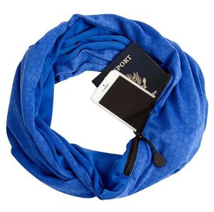 a scarf with pocket is one of the top travel gifts 2017