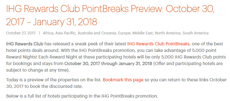 Hotels for Only 5,000 Points a Night: New IHG PointBreaks List