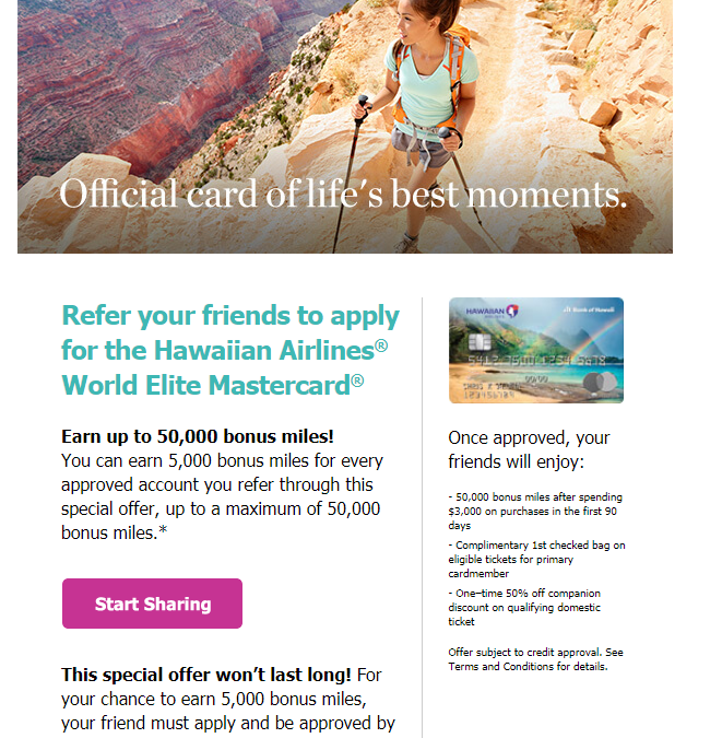 Earn Up to 50,000 Miles For Referring the Hawaiian Airlines Credit Card [Targeted]