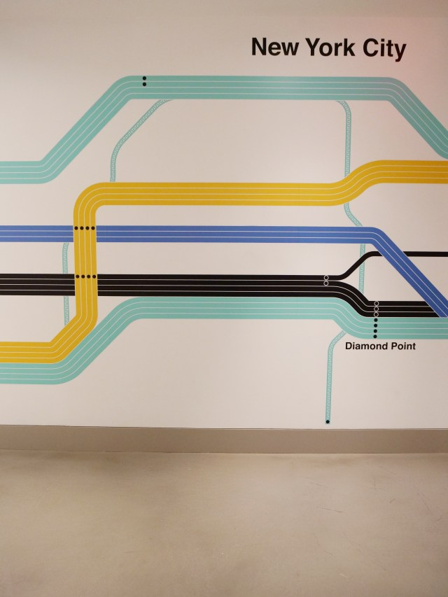 NYC Tiffany and Co Valentine's Day Subway Flower Installation train colorful map