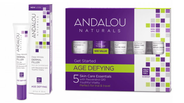 Image of Andalou Naturals vegan products deep wrinkle dermal filler and age defying skin care essentials it