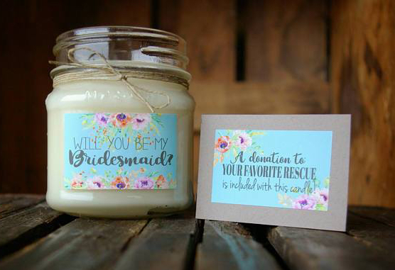 animal rescue candle will you be my bridesmaid proposal