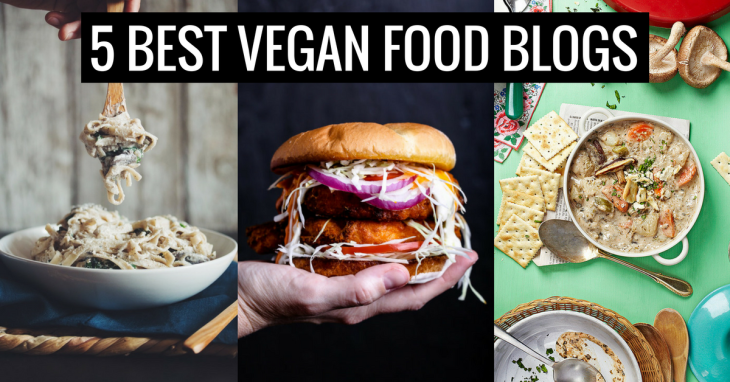 image of creamy pasta, buffalo cauliflower sandwich, and vegan New England clam chowder with text saying five best vegan food blogs