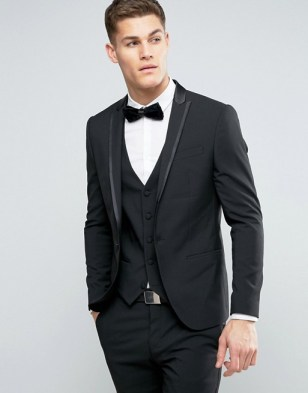 asos vegan River Island Skinny Tuxedo In Black