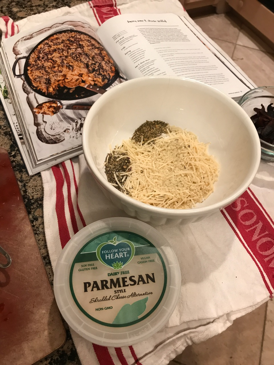 Prepping the topping with FYH Parmesan