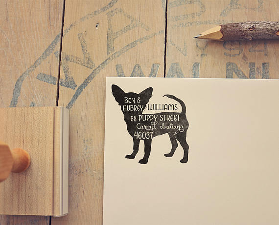 etsy chihuahua dog animal custom return address family stamps