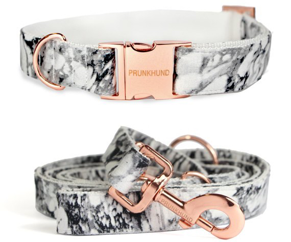 etsy custom dog collar marble mattern rose gold