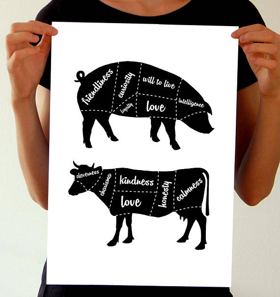 etsy vegan kitchen poster pig cow vegetarian cuts activism