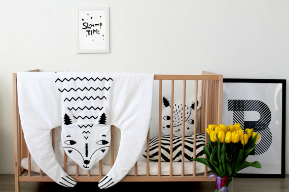 world of etsy sale organic cotton fox animal baby blanket nursery pad