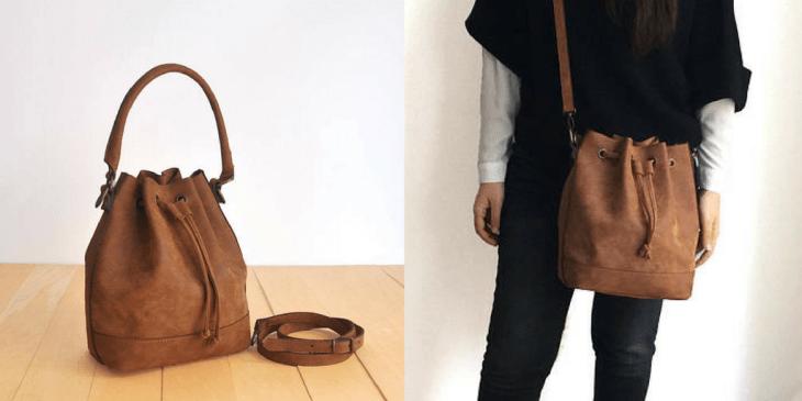 vegan faux leather bucket bag etsy