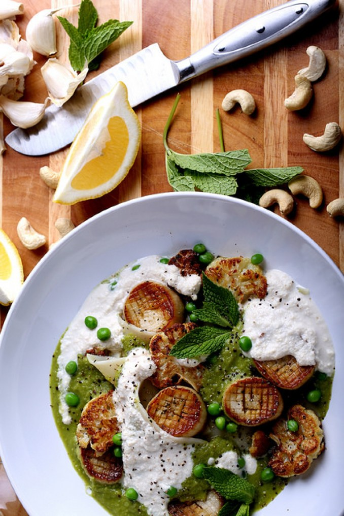 vegan vitamix recipes caramelized scallops pasta minted pea puree olives for dinner