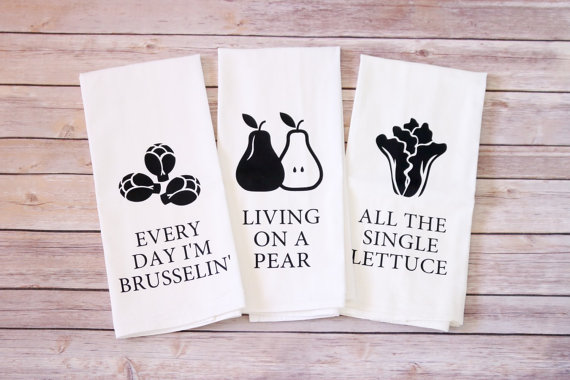 gifts for vegans vegetable pun kitchen towels