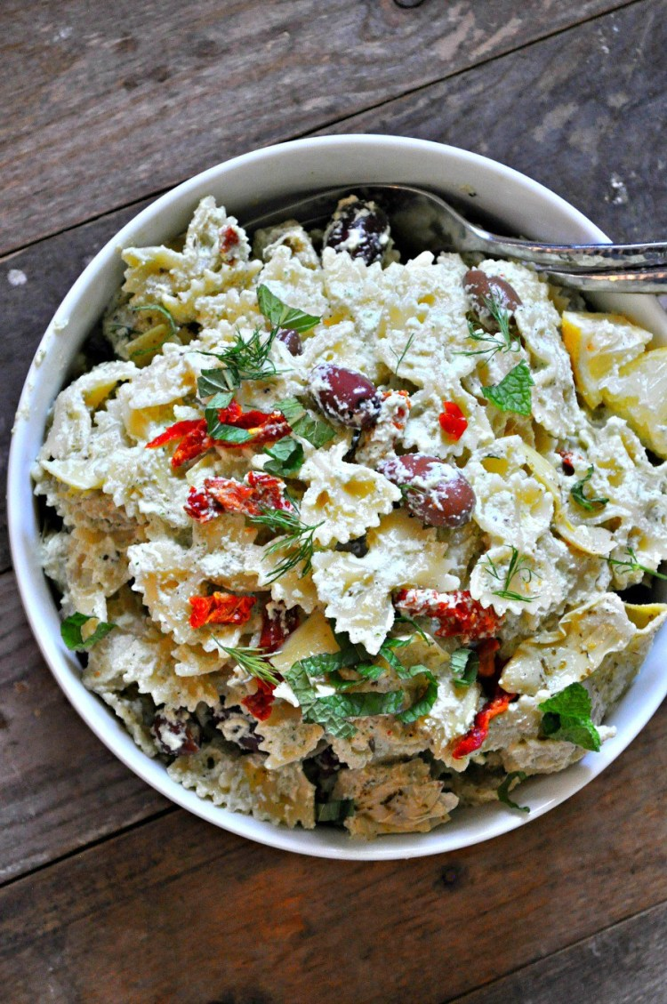 vegan pasta salad tzatziki