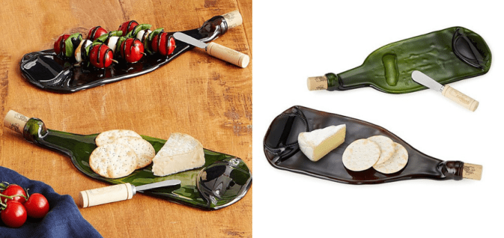eco-friendly gifts recycled wine bottle platters uncommon goods