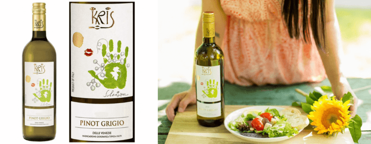 bottle of kris pinot grigio next to plate and sunflower