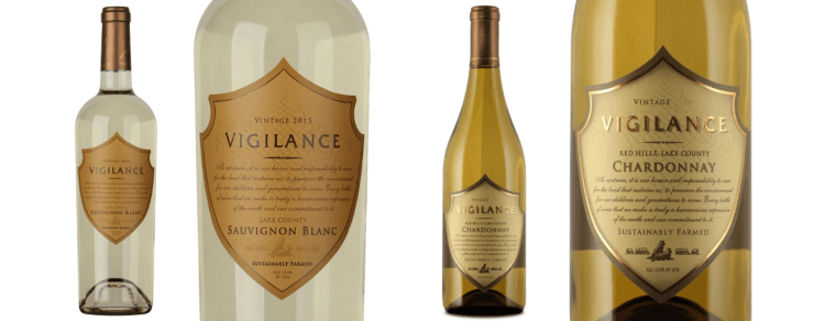 bottles and close up labels of vigilance white wine