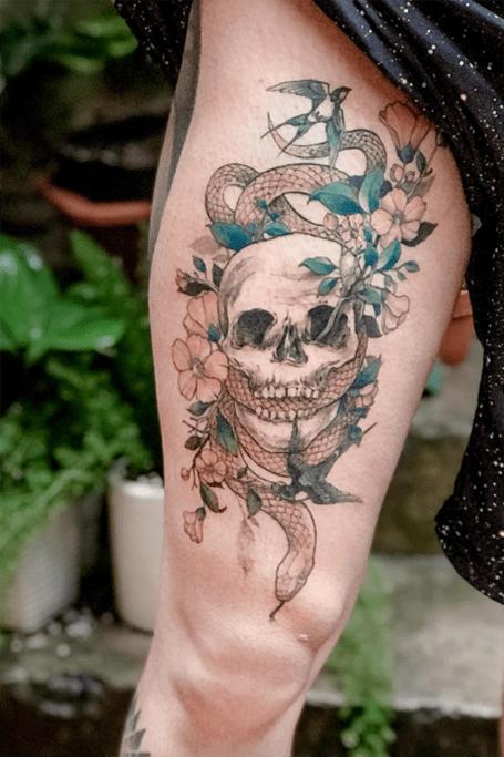 Skull Snake Tattoos : skull, snake, tattoos, Unique, Snake, Tattoos, Trend, Spotter