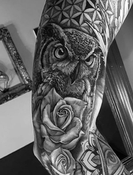 Owl Sleeve Tattoo : sleeve, tattoo, Symbolic, Tattoos, Trend, Spotter